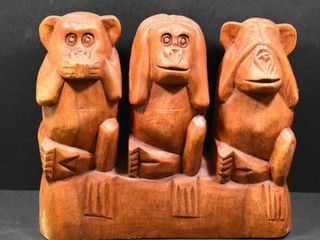 WOOD HAND CARVED  SEE NO HEAR NO TAlK NO EVIl