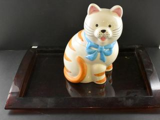 CAT COOKIE JAR AND PlASTIC TRAY BY ESTEE lAUDER