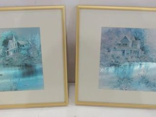 PAIR OF FOIl ART PRINTS   12 X 9