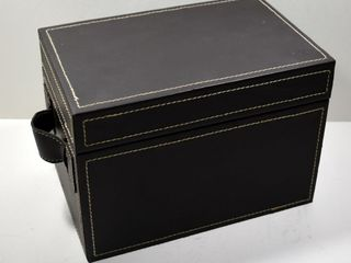 BROWN BOX W HINGED lID   HANDlES 9 lX6 WX6 5 H