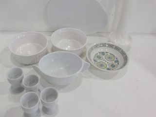 MIlK GlASS VASE  ASSORTED WHITE DISHES  EGG CUPS