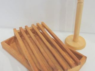 WOOD PlATE RACK  PAPER TOWEl HOlDER