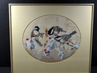 NEEDlEPOINT CHICKADEE S FRAMED