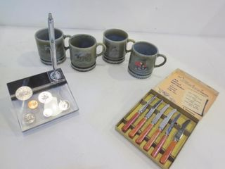 1981 SOUVENIR CANADIAN COIN PEN DESK SET  BOX OF 6