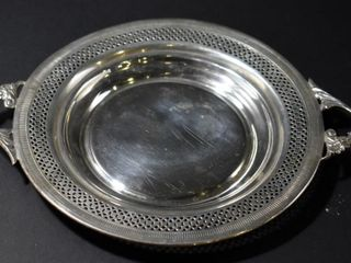 STERlING WINE COASTER W HANDlES   PIERCED EDGE