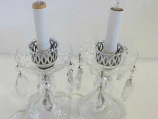 PAIR OF CRYSTAl CANDlESTICK lAMPS   11 5 H
