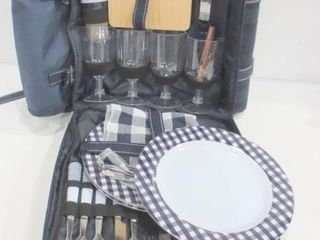 BACKPACK PICNIC BASKET WITH PlATES  GlASSES