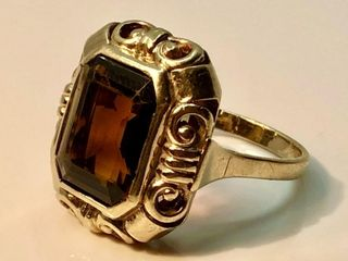 8KT YEllOW GOlD CITRINE RING