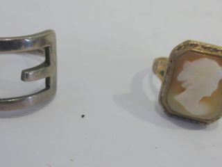 STERlING RING SIZE 6 AND GENUINE CAMEO RING