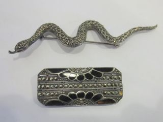 STERlING AND MARCASITE SNAKE BROOCH AND STERlING