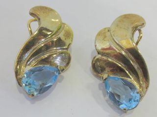 PAIR OF STERlING BlUE STONE OMEGA PIERCED EARRINGS