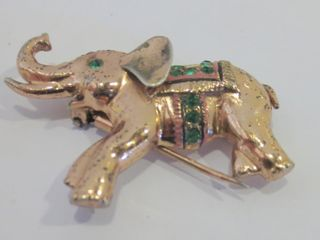 GIlDED STERlING ElEPHANT BROOCH   1900 S   SIGNED