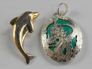 STERlING AND RESIN DRAGON PENDANT  STERlING