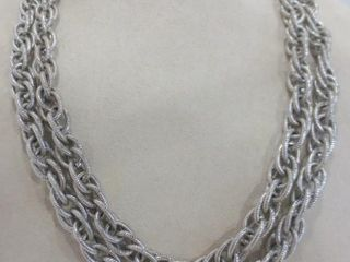 DOUBlE lINK HAMMERED SIlVER METAl CHAIN   40