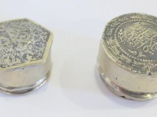 TWO SIlVER METAl SNUFF BOXES