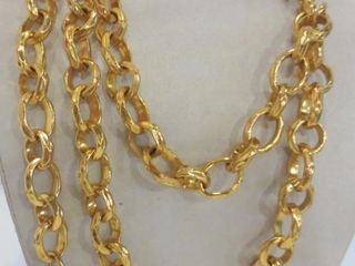 GIlDED HAMMERED METAl CHAIN   CZECHOSlOVAKIA