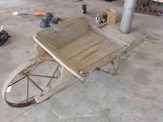 Wooden Wheelbarrow w Steel Wheel