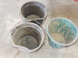 2 Flatback Pails and Fruit Hamper