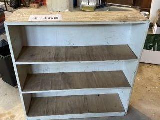 Wooden shop shelf