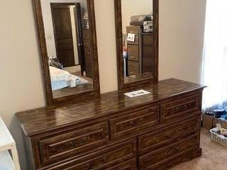 Vintage 7 drawer dresser with 2 mirrors