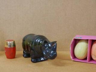 Very Cool Vintage Collectible  Abraham lincoln Avon Bottle  Rhinoceros Avon Bottle  and Avon Soap