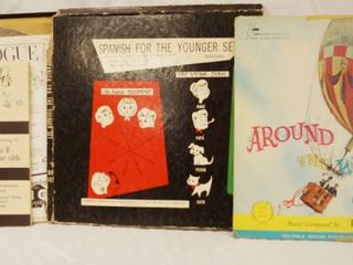 lot of 2 Vintage 12  78 rpm Vinyl Records   Spanish For The Younger and Aound The World in 90 Days