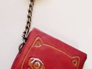 Vintage leather Cat Key Chain and Coin Holder