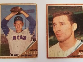 Collector Cards   Barney Schultz   Pitcher  Chicago Cubs  Card  89 and Bobby locke  Chicago Cubs  Card   359 Topps  Both in Plastic Sleeves