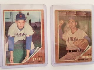 Collectible Baseball Cards   Ron Santo  Chicago Cubs 3rd Base   170 Topps and Cunc Barragon Chicago Cubs  66 Card in Protective Sleeves