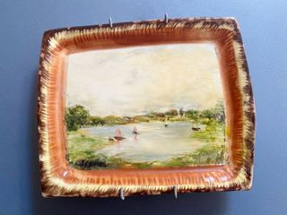 Hand Painted in Poole England   on a Vintage Price Kensington Cottage Ware Cheese Butter Dish   One of a kind