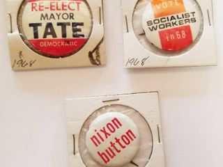 Vintage Election Buttons   Vote Re Elect Mayor Tate  Socialist Workers 1968  Nixon Button