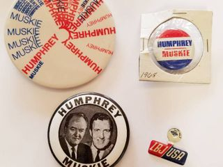 lot of Vintage Election Buttons   Humphrey Muskie 1968