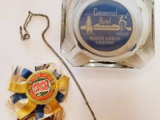 Vintage Badges and Buttons Dallas Texas  and a Pretty Necklace and a Commercial Hotel  Monte Carlo Casino Glass Ash Tray