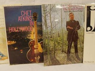 lot of 4  Vintage 12  Record Albums   Class Guitar Chet Atkins  Chet Atkins In Hollywood  Jim Nabors The lords Prayer and JD