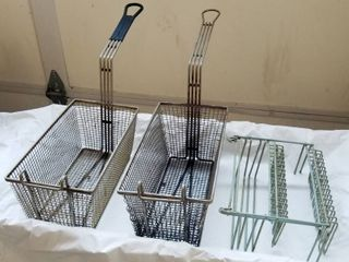 lot of 2 Frying Baskets  and Dish Holder
