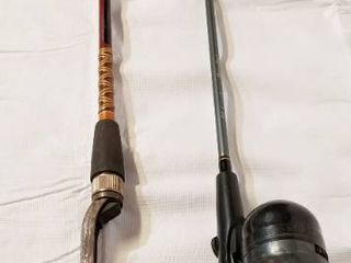 lot of Vintage Fishing Poles    1  Fishing Pole with Real  See Photos