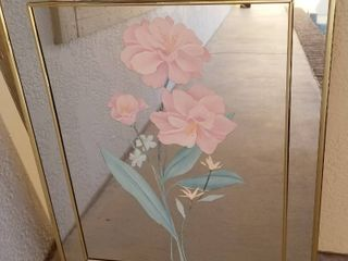 Wall Hanging Pink Flowered  Mirror Picture