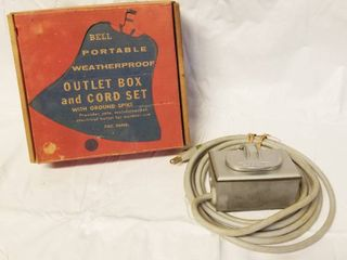 Vintage Outlet Box and Cord w Original Box