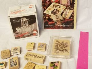 6  Glass Basket   Assorted lot of Wood Stamps   Stampin Up Book  of Ideas
