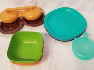 Hamburger Maker  Bowls  Tupperware Plastic Plates and Tupperware Onion Holder