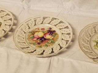 lot of 3  Vintage Fruit Wall Hanging Plates