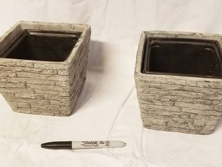lot of 2 Flower Pots  5  Tall x 6  Square