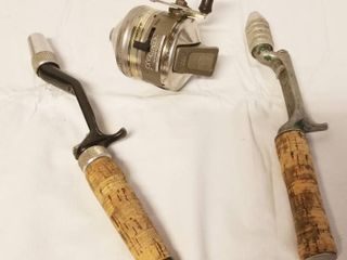 Vintage  Zebco Fishing Reel  and 2 Cork Handles for Fishing Poles