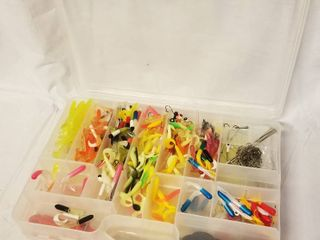 lot of Rubber Fishing Worms and Organizer Container