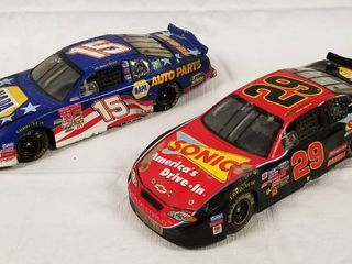 lot of 2 Collectible Race Cars  Die Cast Cars    15 Napa     29 Sonic  See Photos