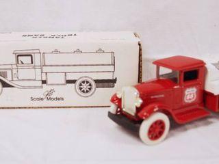 Collectible Phillips 66  Phillips Petroleum  Tanker Truck Bank w  locking Coin Bank w  Key  w Original Box  Die Cast Metal