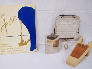 Vintage  Book   The Anchor  United State Navel Training Center  Canteen  Music Holder and Boot Remover  Butler   Sons Western Outfitters