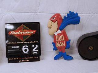Budweiser Calendar  Metal Bud Man  and More