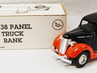 1938 Panel Truck Bank  with locking Coin Bank w  Key   Die Cast Metal   Phillips 66