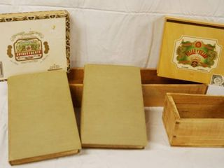 lot of 2 Wood Boxes  2 Wood Cigar Boxes and 2 Vintage Books limited Edition 11  The Supplemental Nights and limited Edition 8  The Book of Thousand Nights